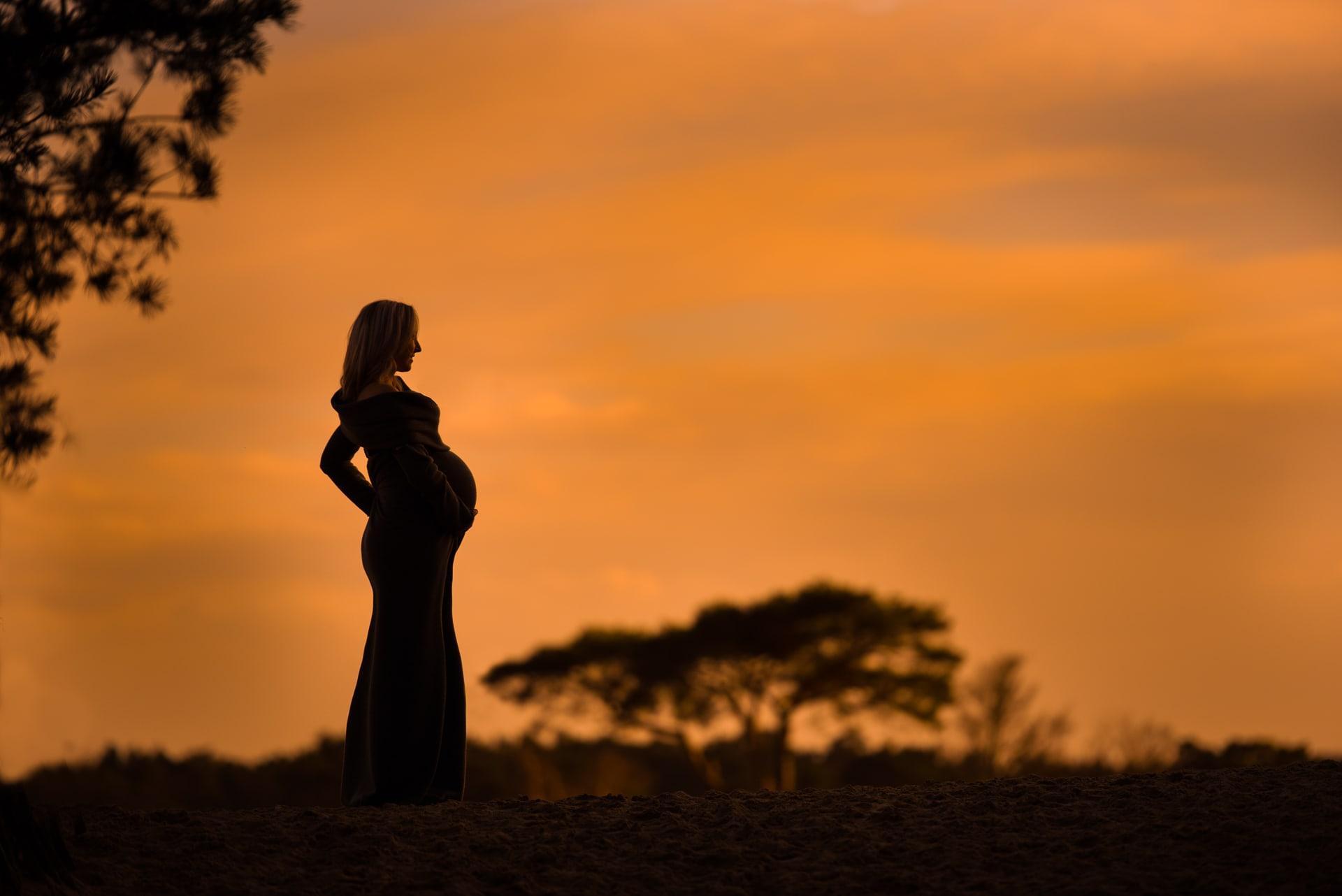 Zwangere vrouw silhouet in avondzon